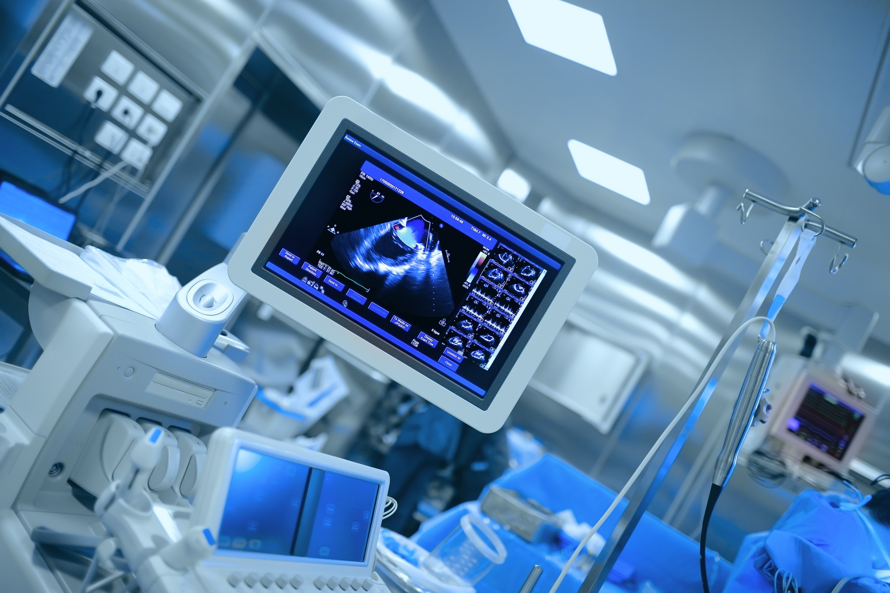 Ultrasonic monitoring of patient's heart during cardiac surgery.